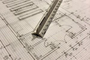 Scale Ruler with Architectural Field Notes and Drawing