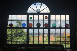 Glass Orbs in Window at Beauport