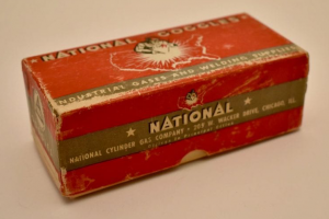 Paperboard box for welding goggles c. 1936-1947