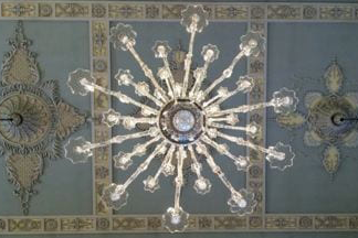 Chandelier on Blue Ceiling